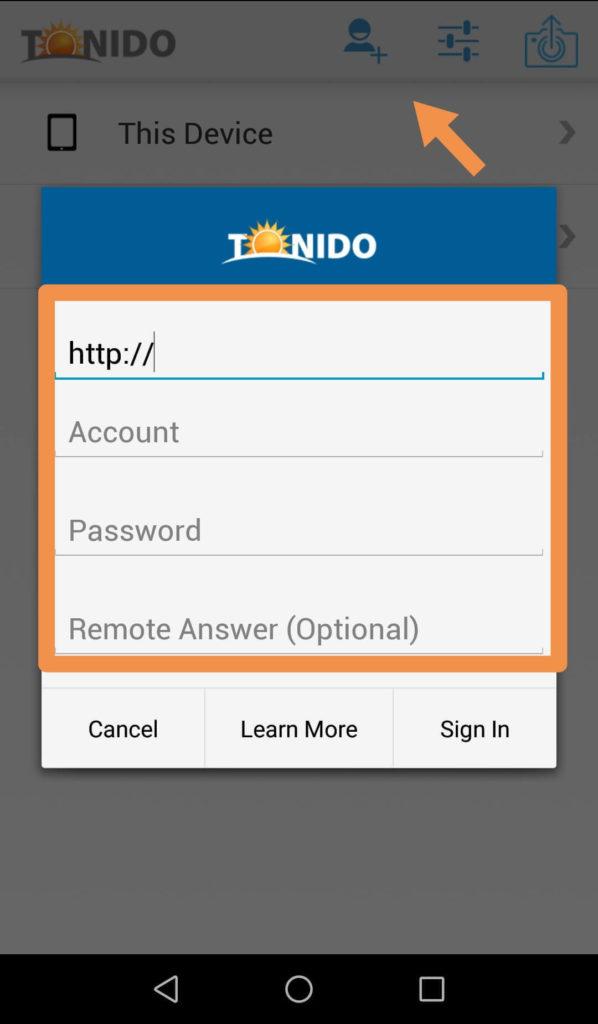 Tonidoのスマホアプリ初期設定