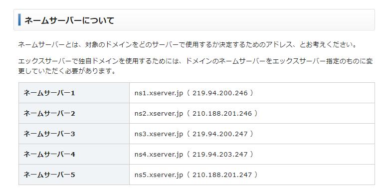 エックスサーバードメイン設定【エックスサーバー公式でのネームサーバー説明】