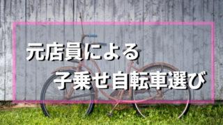 【安全】前後子乗せ自転車選び決定版!元店員がおすすめする自転車3選!