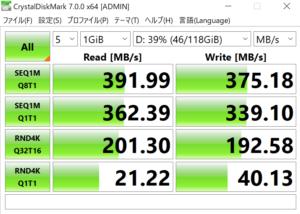 Ideapad slim 350 Ryzen3の取り外したM.2 SSDを外付けにした速度