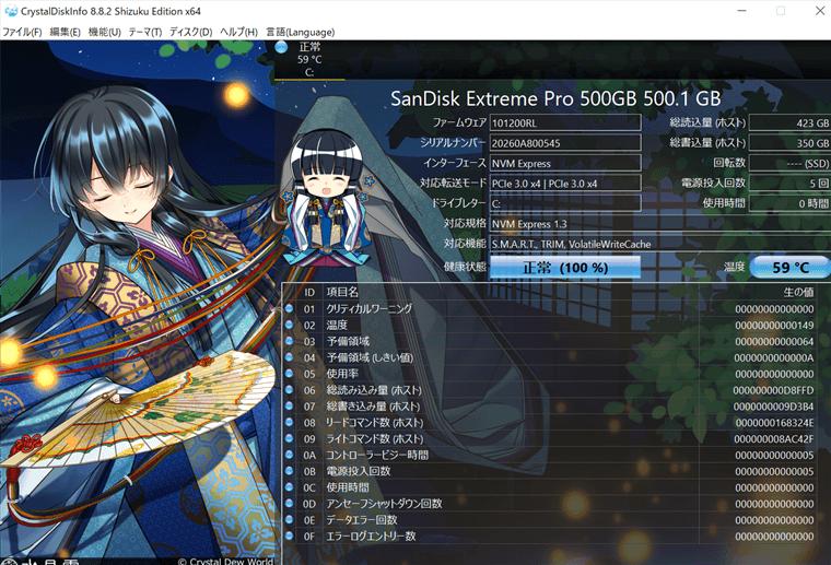 SanDisk SSD M.2 NVMe 3D Extreme PROシリーズ 500GB+銅製ヒートシンクでの最高発熱